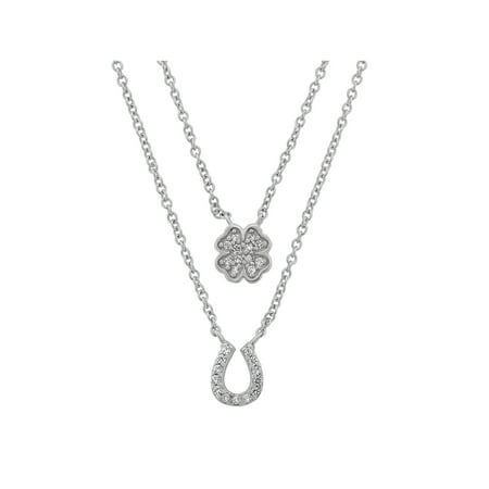 - CZ Rhodium over Sterling Silver Double Layered Horseshoe and Clover Necklace, 18