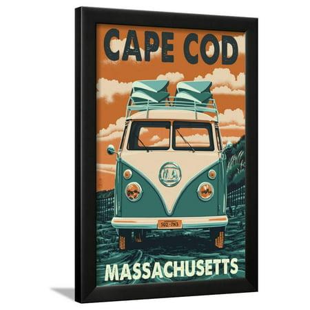 Cape Cod, Massachusetts - VW Van Framed Print Wall Art By Lantern Press