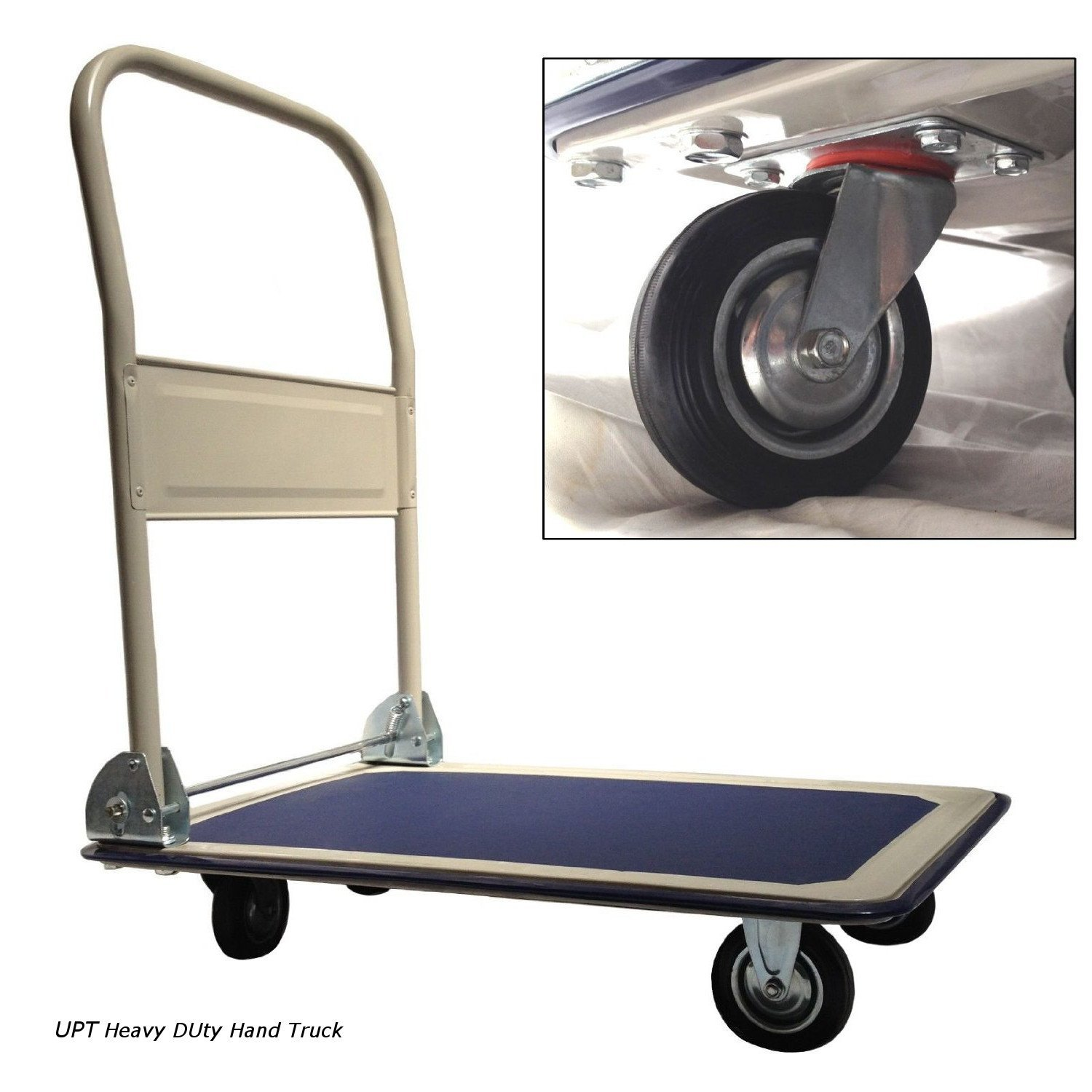UPT Platform Truck Push Cart - Folding Collapsible Warehouse Retail Store Shopping Dolly - 330 Lbs Capacity Metal Wheels