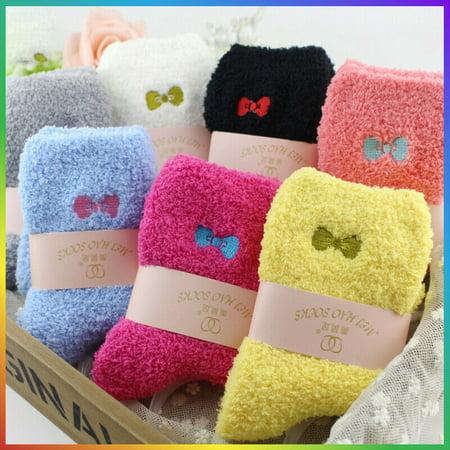 6 Pairs Colorful Women Soft Fluffy Bed Socks Winter Warm Lounge Slipper Fleece Sock