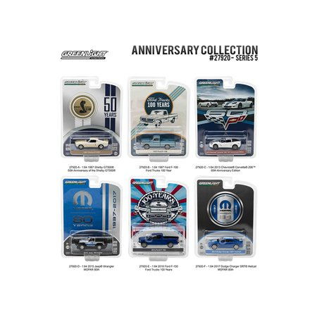 Anniversary Collection 50th Anniv Shelby / Corvette Z06 / Ford Trucks 100Years /  MOPAR Series 5, 6pc Diecast Greenlight