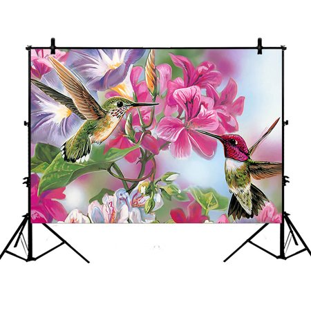 GCKG 7x5ft Novelty Hummingbird Polyester Photography Backdrop Studio Photo Props Background - image 4 of 4