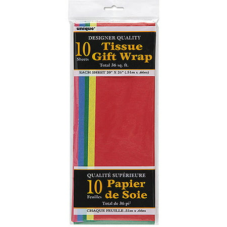 Assorted Color Tissue Paper, 10 Sheets (Colored Tissue Paper)