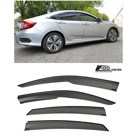 For 16-Up Honda Civic 4Dr Sedan FC1 Mugen Style Smoke Tinted JDM Side Window Visors Rain Guard Deflectors 2016 2017 16 17