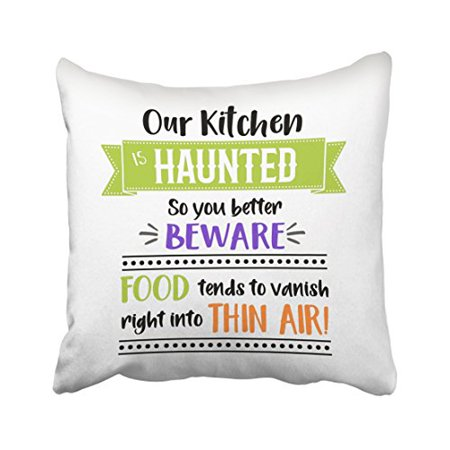 WinHome Funny Kitchen Quote Halloween Decor Throw Pillow Covers Cushion Cover Case 20x20 Inches Pillowcases Two - Halloween Funny Quote