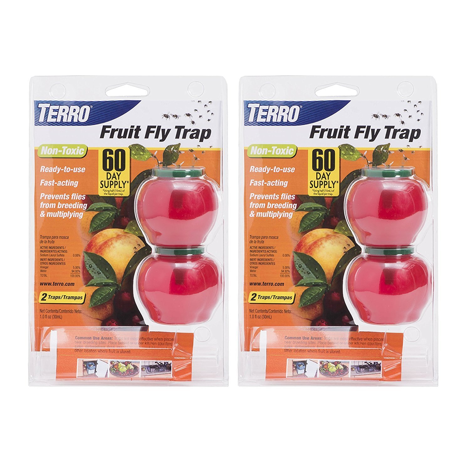 TERRO Fruit Fly Trap – 2 Pack T2502 4 Traps