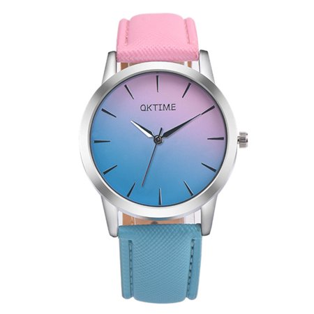 OKTIME New Fashion Women Colorful Jelly Sports Quartz Leather Band Students Casual Wrist Watches
