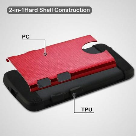 Motorola Moto E4 Case, by Insten Tuff Dual Layer [Shock Absorbing] Hybrid Brushed Hard Plastic/Soft TPU Rubber Case Cover For Motorola Moto E4, Red/Black - image 2 de 3
