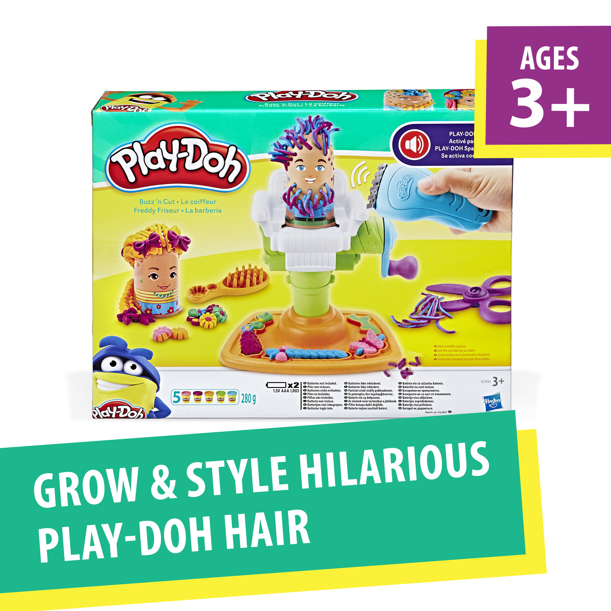 Play-doh buzz 'n cut fuzzy pumper barber shop toy with electric buzzer