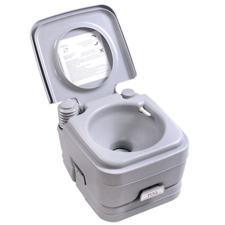Jaxpety Portable Toilet 2.8 Gallon 10L Flush Commode Camping Potty Outdoor, Gray