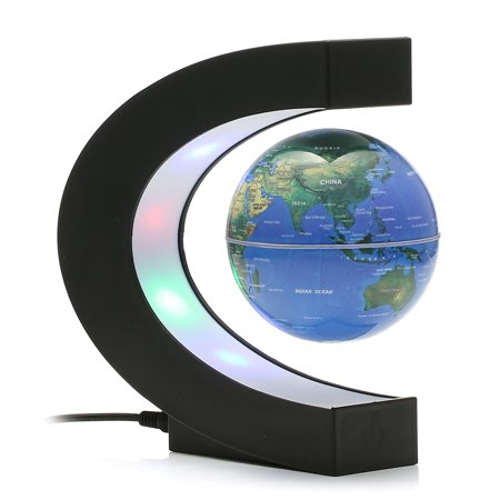 Illuminated Desk Globe - MECO 3'' C Shape Anti Gravity Globe Magnetic Levitation Floating Globe Illuminated and Changeable Color Globe World Map with Colored LED Light Great Desk Decor Christmas Gifts