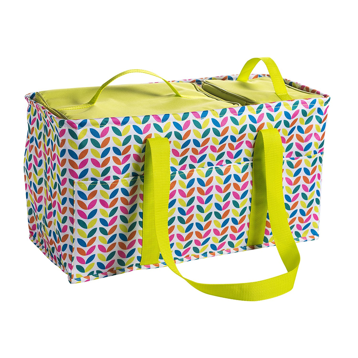 Pursetti Large Utility Tote Bag With Handles, 2 Zippered Coolers, Heavy Duty Fabric - Beach Picnic Basket, Collapsible Grocery Cart, Insulated Lunch Bag for Work, Car Trunk Organizer For Women(Leaves)