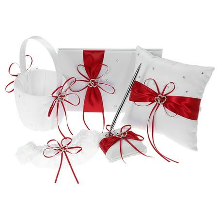 Pillow Garter Set - 5pcs/set Wedding Supplies Double Heart Satin Flower Girl Basket + 7 * 7 inches Ring Bearer Pillow + Guest Book + Pen Holder + Bride Garter Set Red