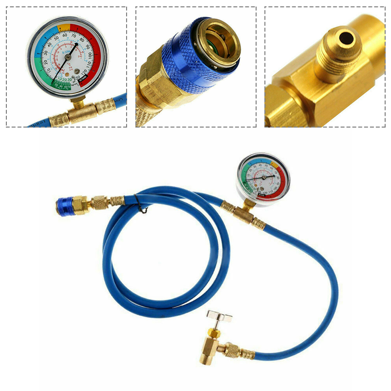 New R134A Air Conditioning Refrigerant Charging Hose with Gauge A//C 1//2 Recharge