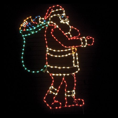 83 in. Outdoor LED Santa with Bag Lighted Display - 250 Bulbs ()