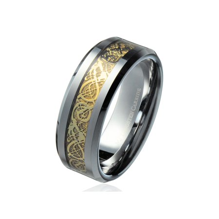 8MM Gold Celtic Dragon Ring Men's Tungsten Carbide Wedding Band Jewelry - Dragon Ring Jewelry