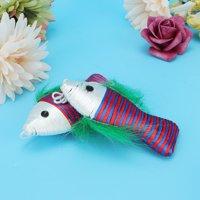 Greensen 10Pcs Funny Fish Shape Swinging Ring Plastic Pet Cat Scratching Playing Pet Cat Toy