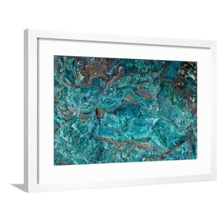 Close-Up of Blue Green Malachite Crystals Framed Print Wall Art By Roger Allen (Malachite Green Crystal)