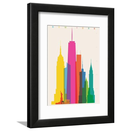NYC New York Skyscrapers Cityscape Colorful Retro Graphic Design Framed Print Wall Art By Yoni Alter
