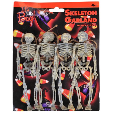 Veil Entertainment Halloween Spooky Realistic Skeleton 4' Garland, Brown (Crochet Halloween Garland)