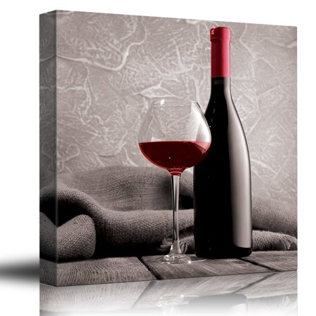 wall26 Romance Series - Black white and red color pop - Deep red wine - Cabernet - Merlot - Shiraz - Bottle and Glass - Canvas Art Home Decor - 12x12 inches