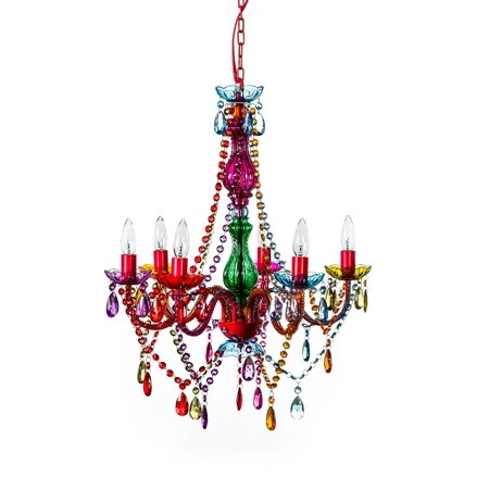"""The Original Gypsy Color 6 Light Large Gypsy Chandelier H27"""" W23"""", Red Metal Frame with Multi Color Crystals"""