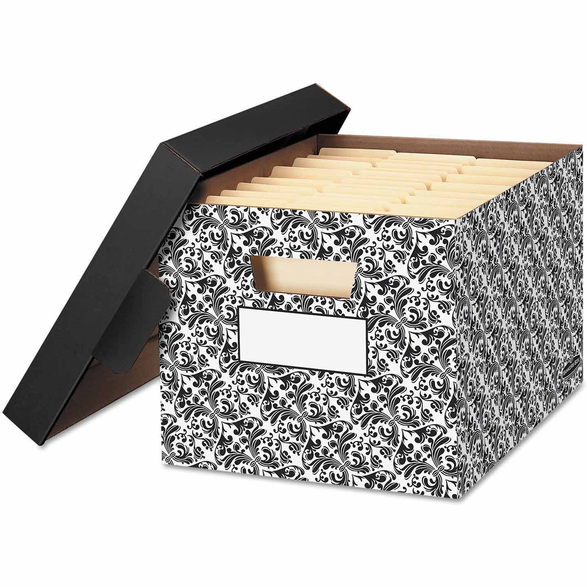 Bankers Box STOR/FILE Decorative Medium-Duty Storage Boxes, Letter, Black/White Brocade