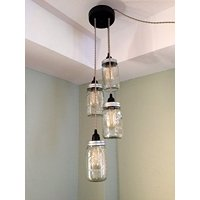 Industrial Rewind Mason Jar Chandelier Swag Light - NO Hard Wiring!! Just hang it up and plug it in!! (Sand Cord)