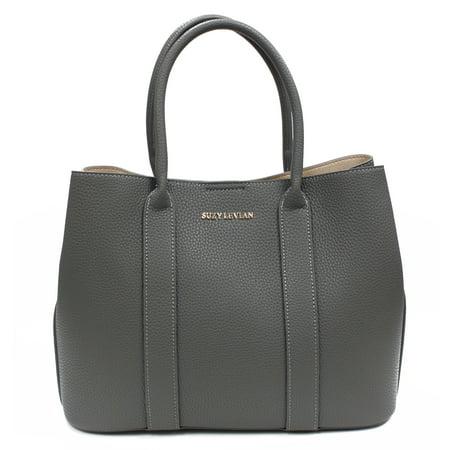 Suzy Levian Grey Pebbled Faux Leather Satchel Handbag ()