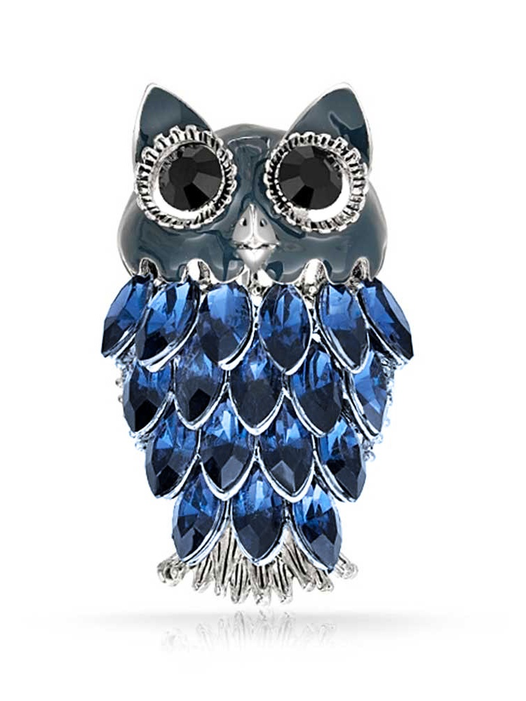 Simulated Sapphire Crystal Owl Rhodium Plated Brooch Pin by Bling Jewelry