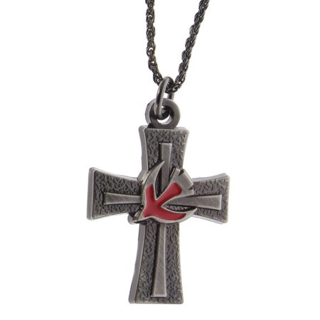 Confirmation Cross Pendant Necklace Cross with Red Spirit Dove