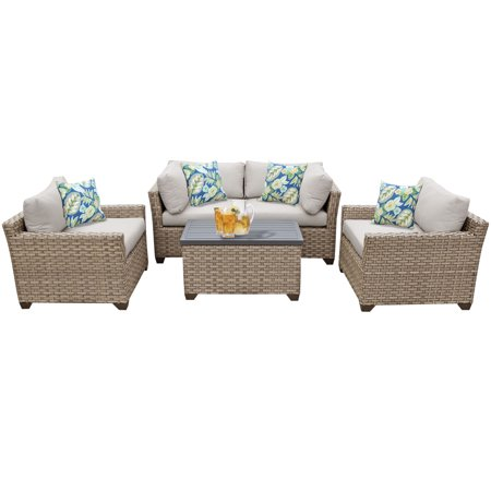 Hampton 5 Piece Outdoor Wicker Patio Furniture Set