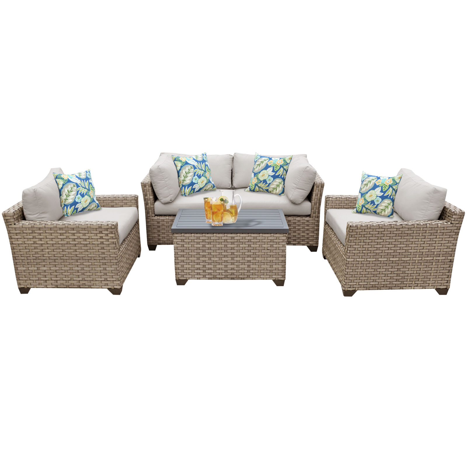 Hampton 5 Piece Outdoor Wicker Patio Furniture Set 05b