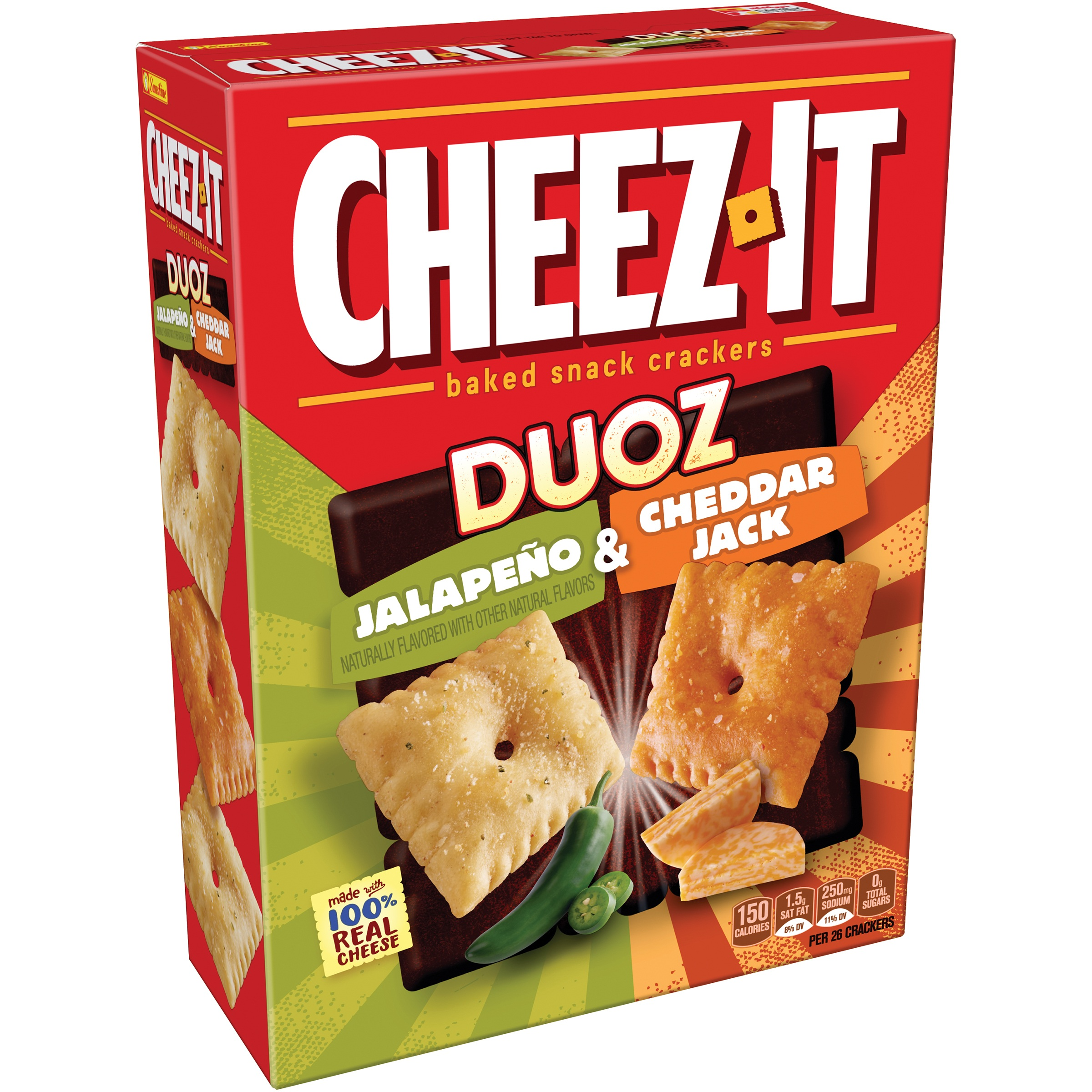(2 Pack) Cheez-It Duoz Jalapeo & Cheddar Jack Baked Snack Crackers 12.4 oz. Box