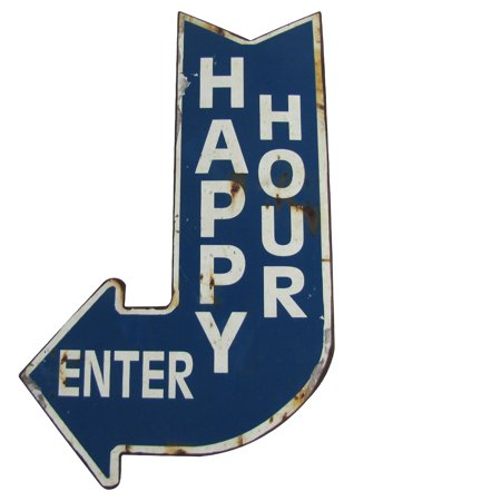Big HAPPY HOUR ENTER Curved Arrow Vintage Metal Sign Man Cave/Bar/Pub Wall Decor (Happy Sign)