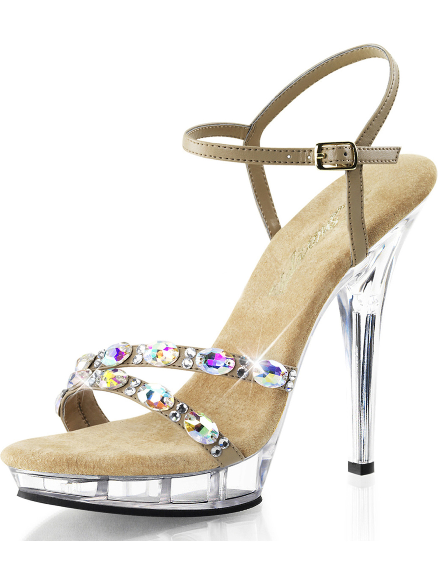 Womens Taupe Dress Shoes Ankle Strap Sandals Rhinestone Clear 5 Inch Heels