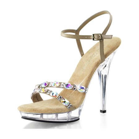 Womens Taupe Dress Shoes Ankle Strap Sandals Rhinestone Clear 5 Inch Heels (Clear Sandal)