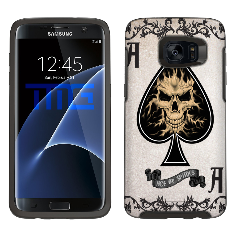 SKIN DECAL FOR Otterbox Symmetry Samsung Galaxy S7 Edge Case - Ace of Spades Skull DECAL, NOT A CASE