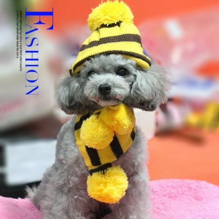 HURRISE 6Pcs/Set Autumn Winter Dog Pets Hat + Scarf + Leg Warmer Cute Clothes Costume