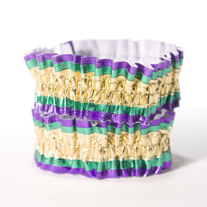 Beistle 60143-GGP - Mardi Gras Arm Bands - Gold-Green-Purple- Pack of 12