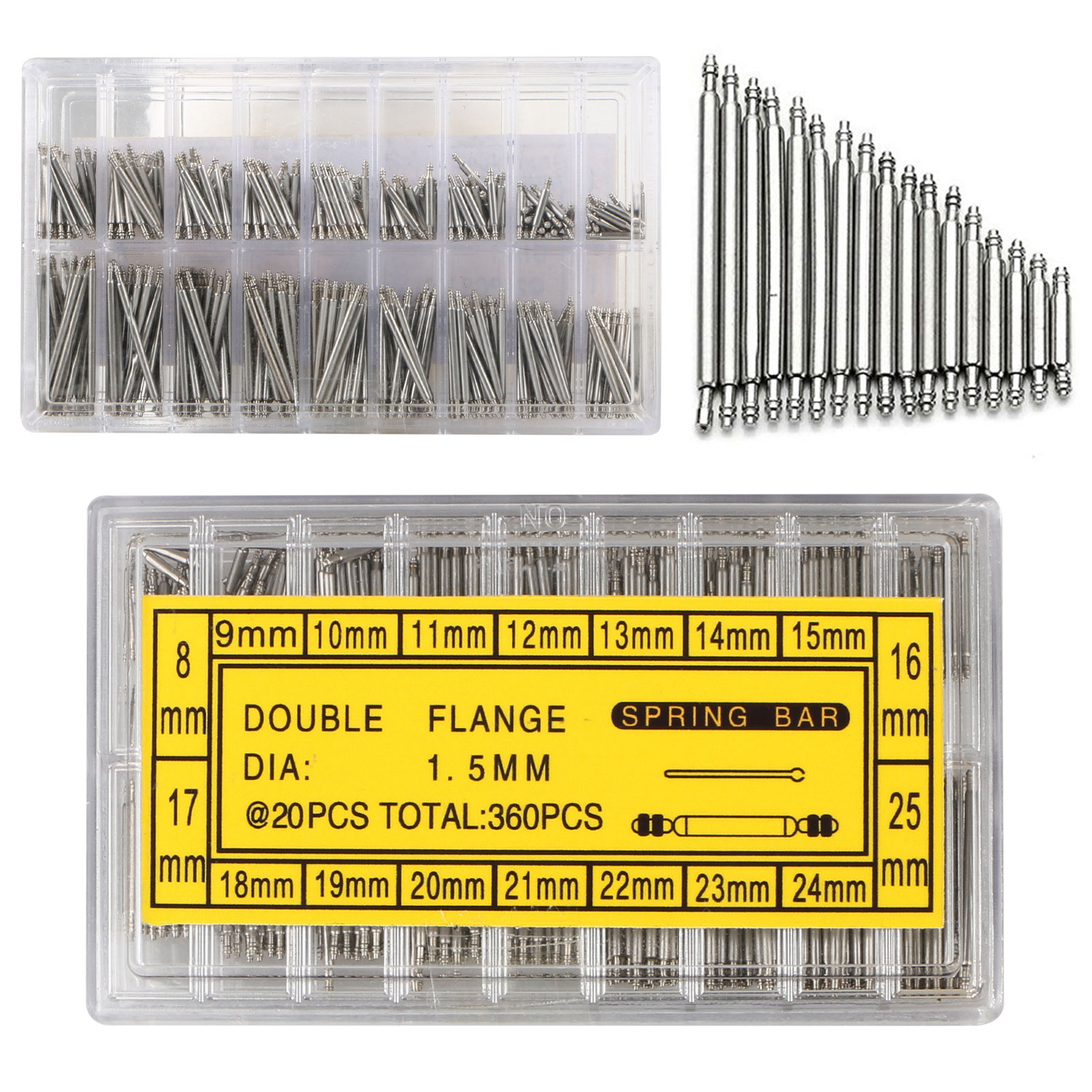 360-pack Stainless Steel Watch Band Spring Bar Strap Link Pins 8-25mm Repair Kit