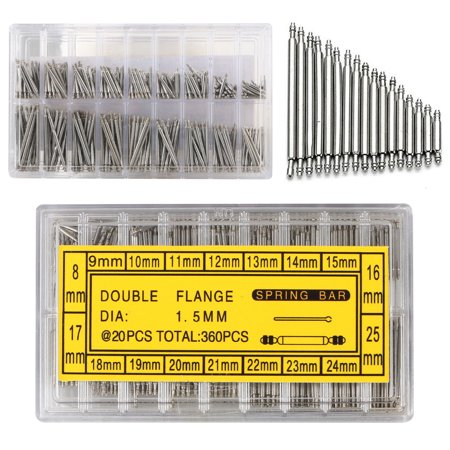 - 360-pack Stainless Steel Watch Band Spring Bar Strap Link Pins 8-25mm Repair Kit
