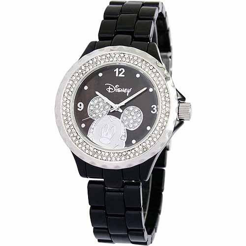 Disney Mickey Mouse Women's Enamel Watch, Black Bracelet