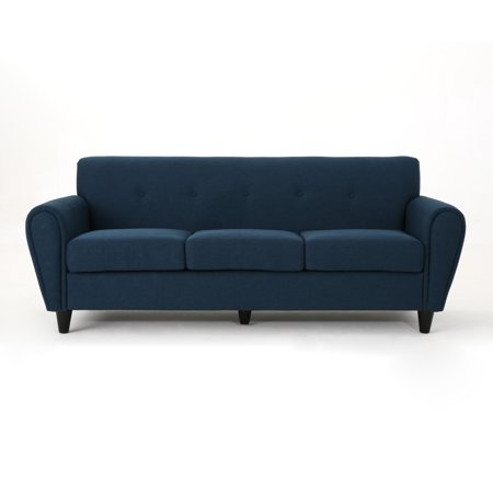 Emilys Coach - Emily Buttoned Traditional Fabric 3 Seater Sofa, Navy Blue