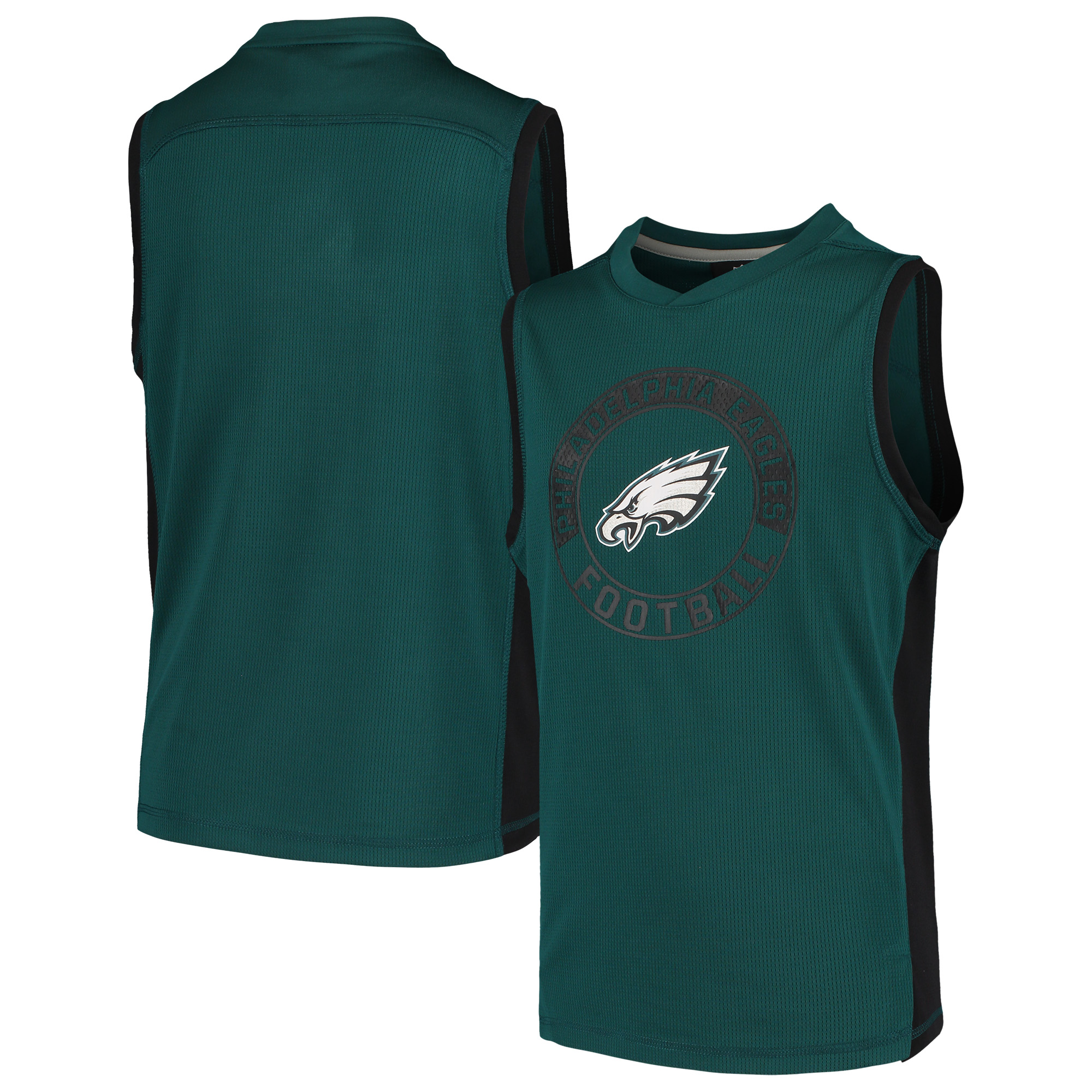 Philadelphia Eagles Youth Pre-Game Muscle Tank Top - Midnight Green