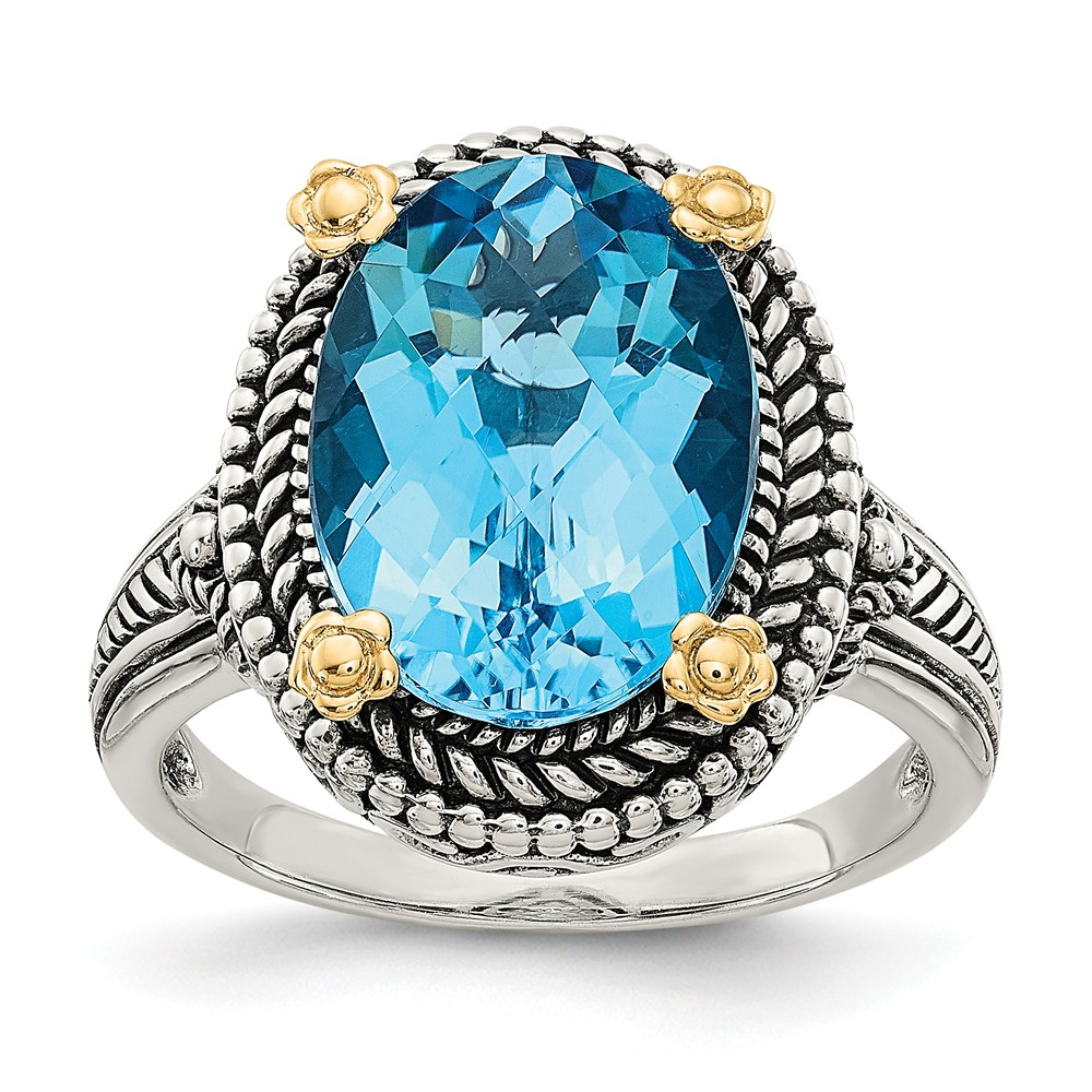 Sterling Silver Polished Prong set Antique finish With 14k 6.00Swiss Blue Topaz Ring by Jewelryweb