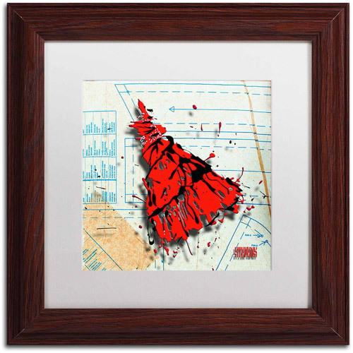 "Trademark Fine Art ""Shoulder Dress Red n Black"" Canvas Art by Roderick Stevens, White Matte, Wood Frame"