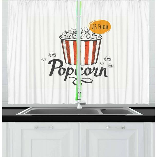 Movie Theater Curtains 2 Panels Set Sketch Design Cinema Snack Us Fast Food Pop Corn Art