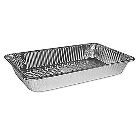 HFA 2019, Full-Size Deep Aluminum Foil Pans with Clear Dome Lid, Take Out Baking Disposable Foil Containers with Matching Covers (50)