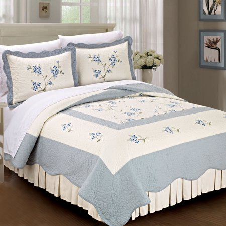 Serenta Hawaiian Flowers Classic 100 Cotton Bedspread Quilt Blanket - Quilted-blankets-for-the-bed